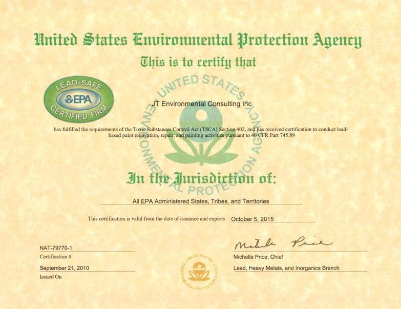 Lead Certification JT Environmental Consulting