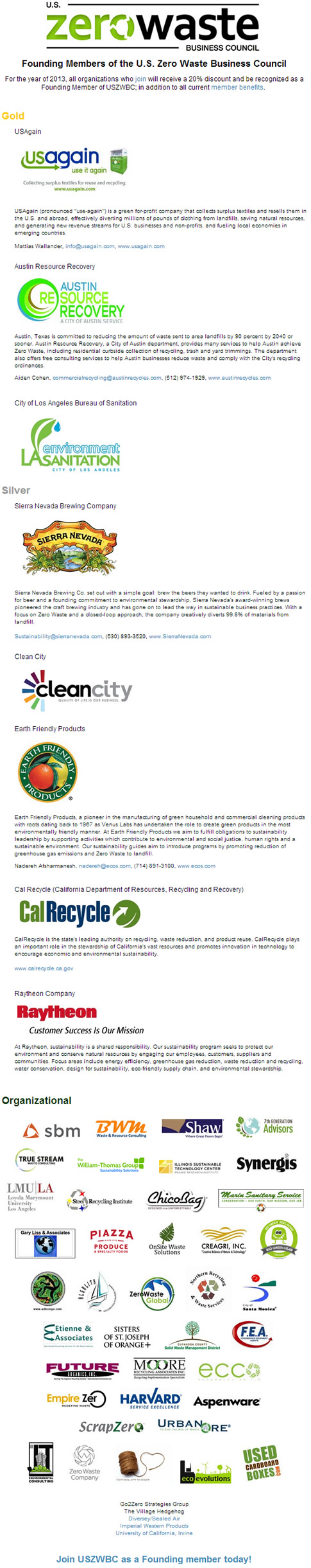 Sponsors of Zero Waste Business Council